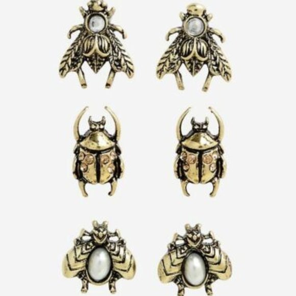 Blackheart Antique Style Bronze Insect Earring set